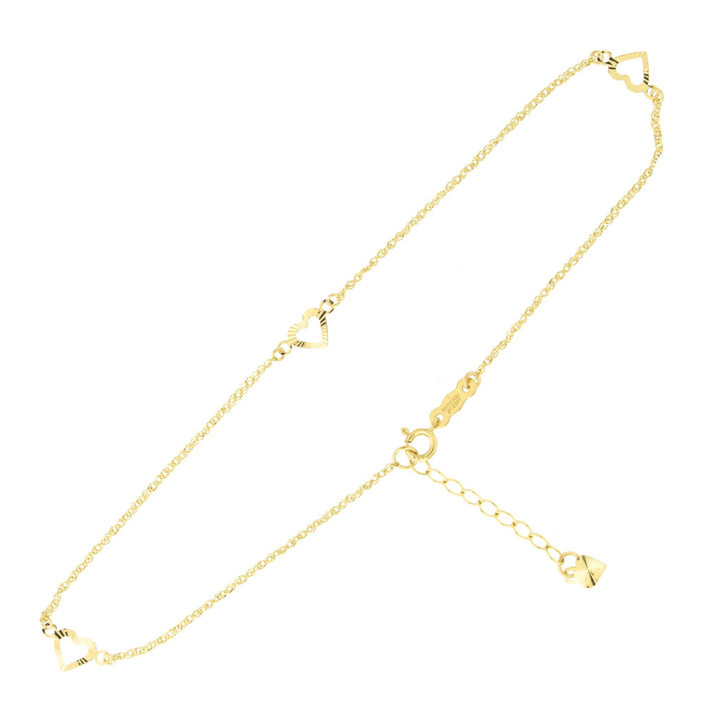 "14k Yellow Gold Diamond Cut Open Hearts Station Anklet Adjustable, 9""- 10"""