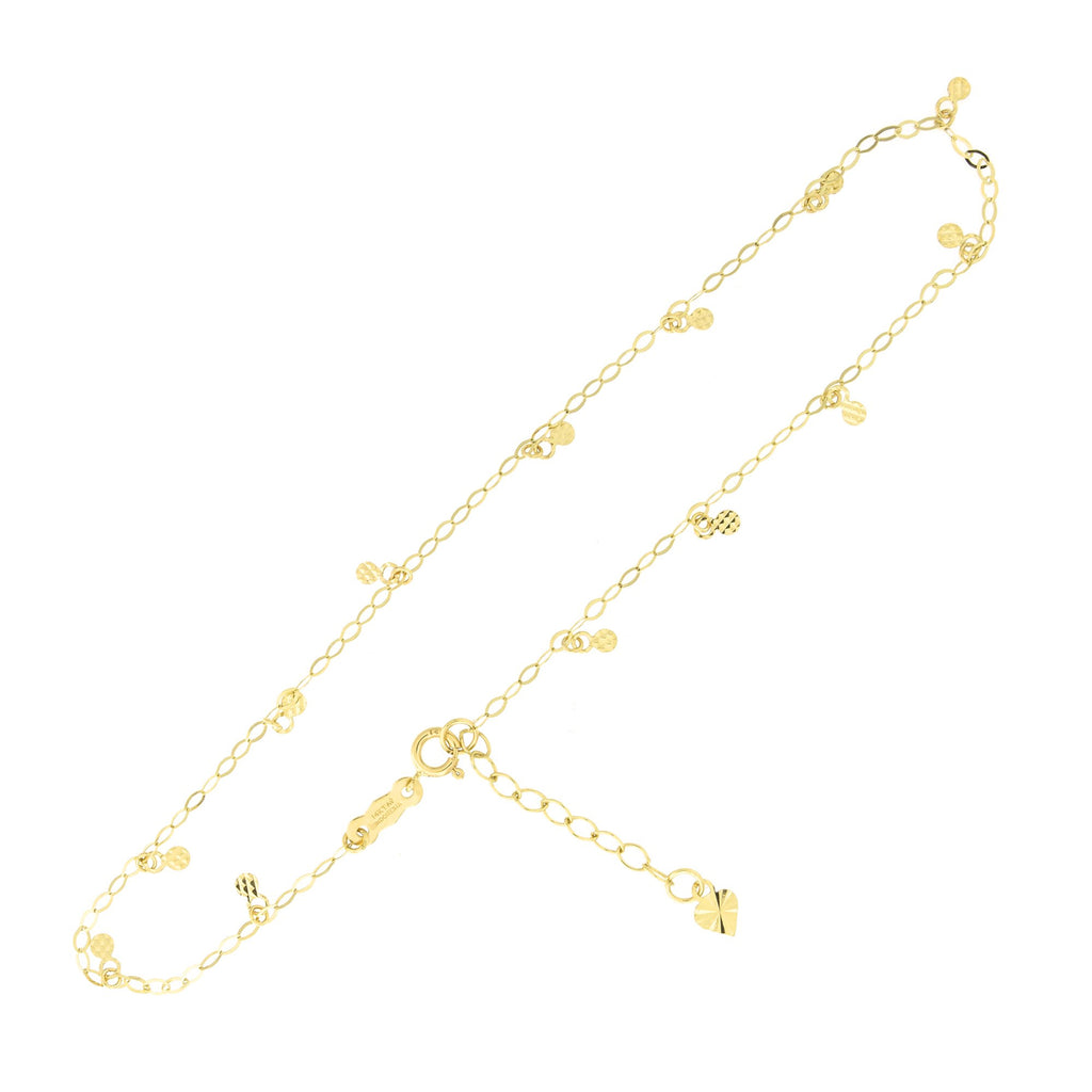 "14k Yellow Gold Oval Chain Diamond Cut Circle Dot Dangle Charm Anklet Adjustable, 9""- 10"""