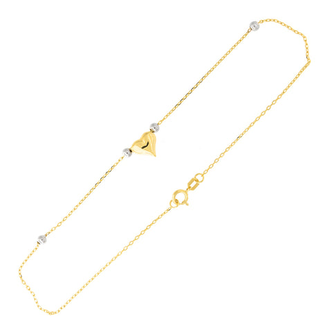14k Yellow and White Gold Two Tone Beaded Puffed Heart Anklet, 10""