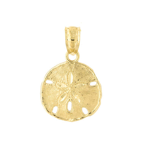 14k Yellow Gold Large Sand Dollar Pendant Necklace with Cable Chain