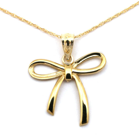 Beauniq 14k Yellow Gold Bow Pendant Necklace - Pendant only