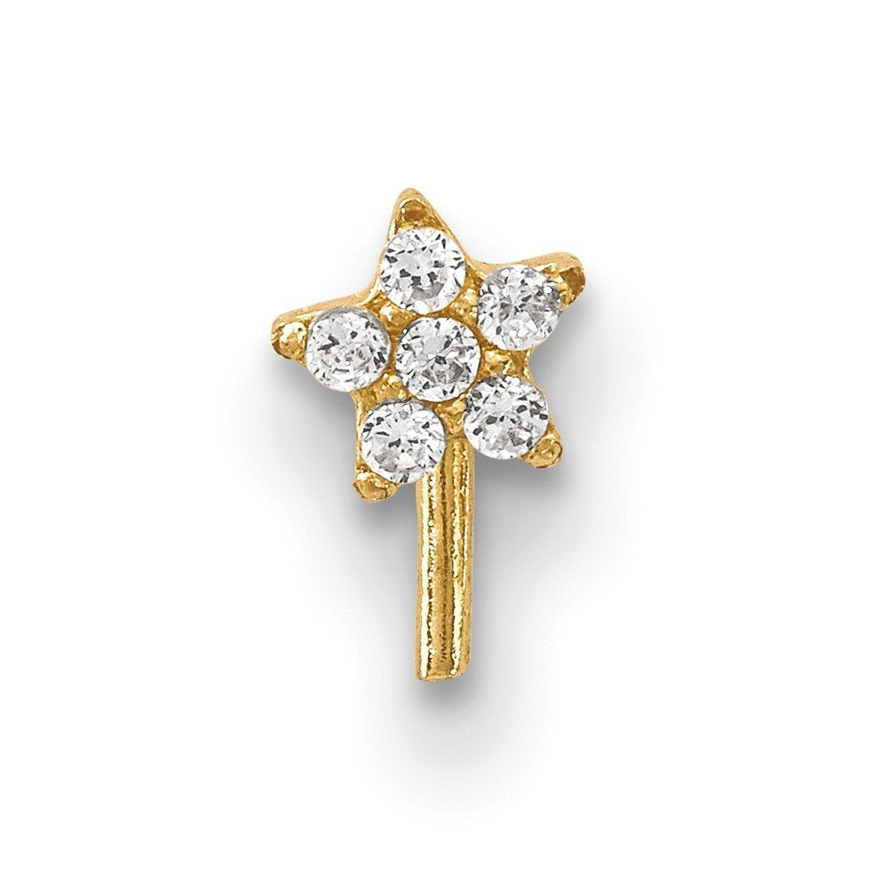 14k Yellow Gold Pave Cubic Zirconia Star Nose Stud L Shaped Nose