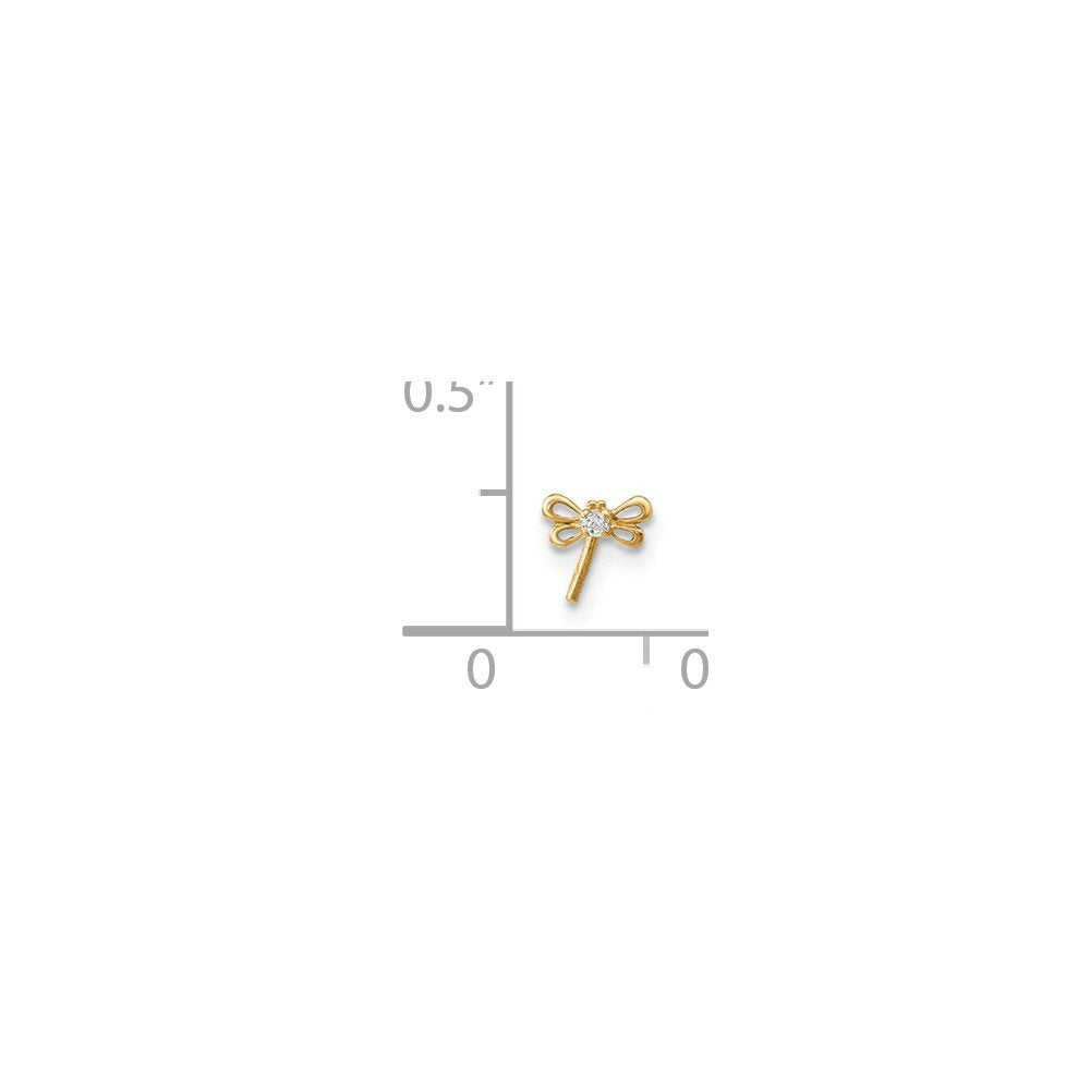 14k Yellow Gold Cubic Zirconia Bow Butterfly Nose Stud L Shaped