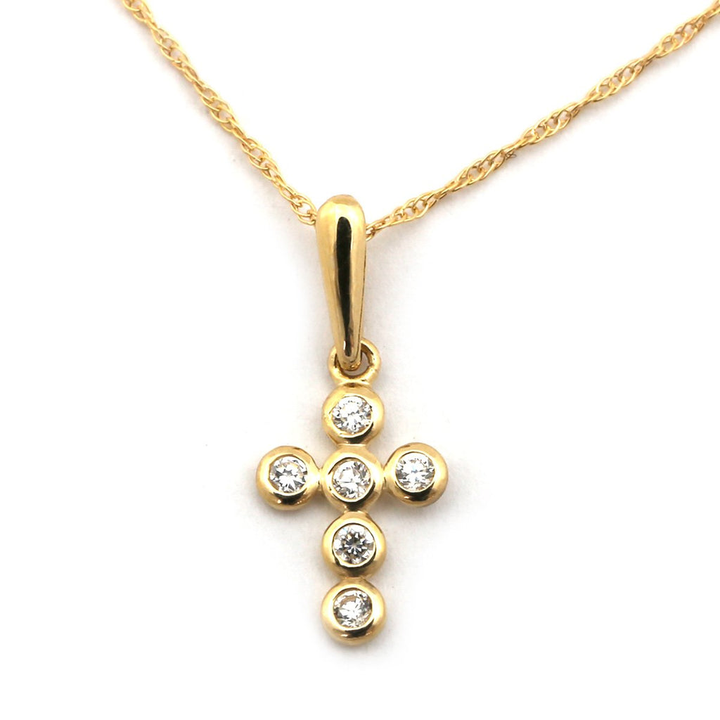 "14k Yellow or White Gold Small Bezel Set Cubic Zirconia Cross Pendant Necklace - 13"" 15"" 16"" 18"" 20"" 22"""