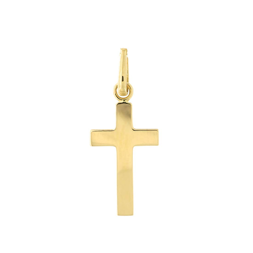 14k Yellow Gold Polished Cross Pendant Necklace with Cable Chain