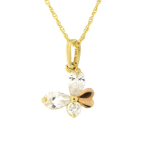 Beauniq 14k Yellow and Rose Gold Cubic Zirconia Butterfly Pendant Necklace (Pendant only)