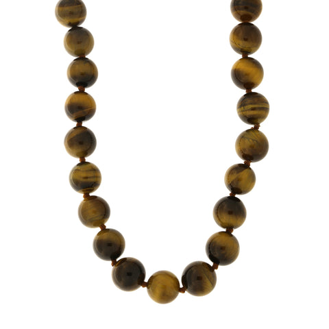 Tigers Eye 10mm Bead Necklace with Sterling Silver Clasp, 18 inches