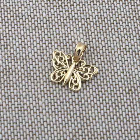 14k Yellow Gold Filigree Butterfly Pendant Necklace - pendant only