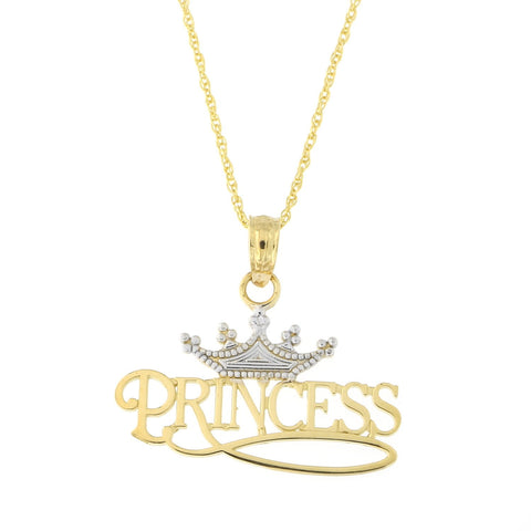 Beauniq 14k Yellow and White Gold Two-Tone Princess Crown Pendant Necklace (Pendant only)