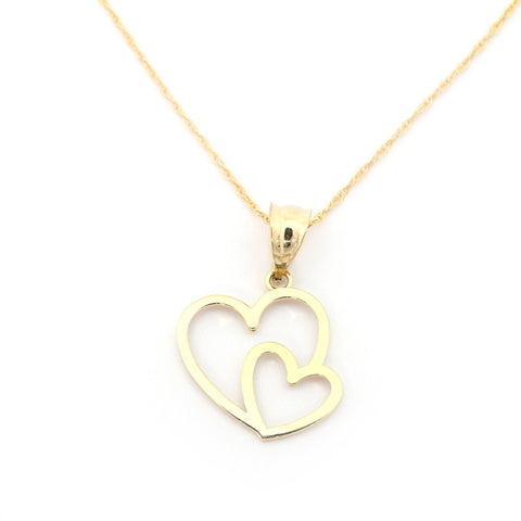Beauniq 14k Yellow Gold Two Open Hugging Hearts Pendant Necklace - Pendant only