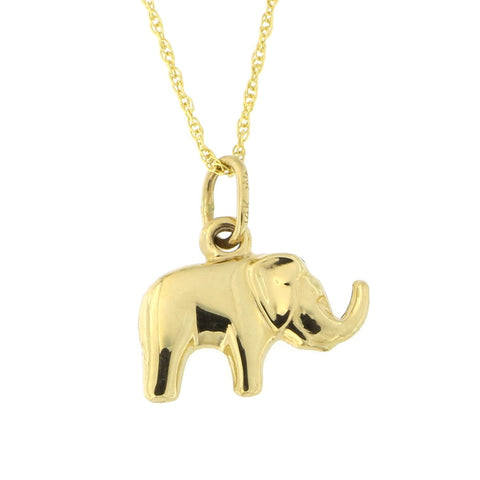 Beauniq 14k Yellow Gold Elephant Pendant Necklace (Pendant only)