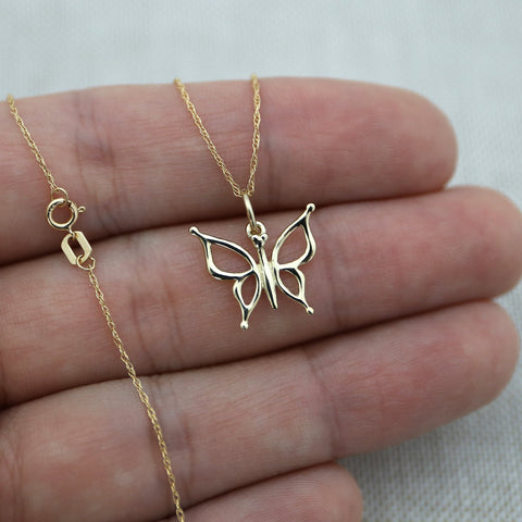 Beauniq 14k Yellow Gold Open Butterfly Pendant Necklace - Pendant only