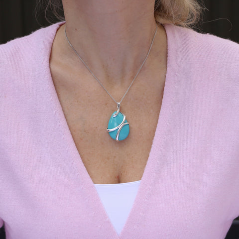 Beauniq Solid Sterling Silver Wrapped Simulated Turquoise Teardrop Pendant