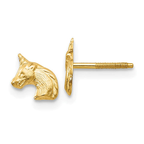 Girls' Solid 14k Yellow Gold Tiny Unicorn Screwback Stud Earrings with Silicone Safety Back, 8mm