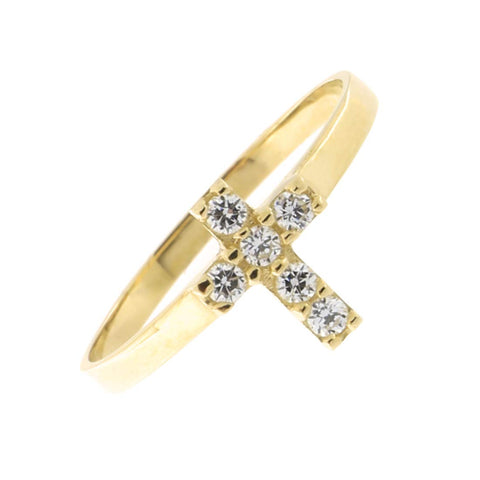 Solid 14k Yellow Gold Cubic Zirconia Cross Midi Ring, Size 3