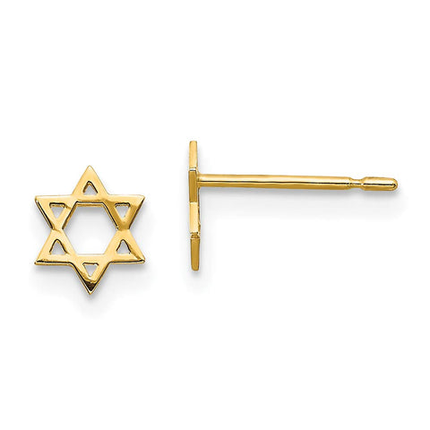 Girls' Solid 14k Yellow Gold Tiny Star of David Stud Earrings with Silicone Safety Back, 6mm