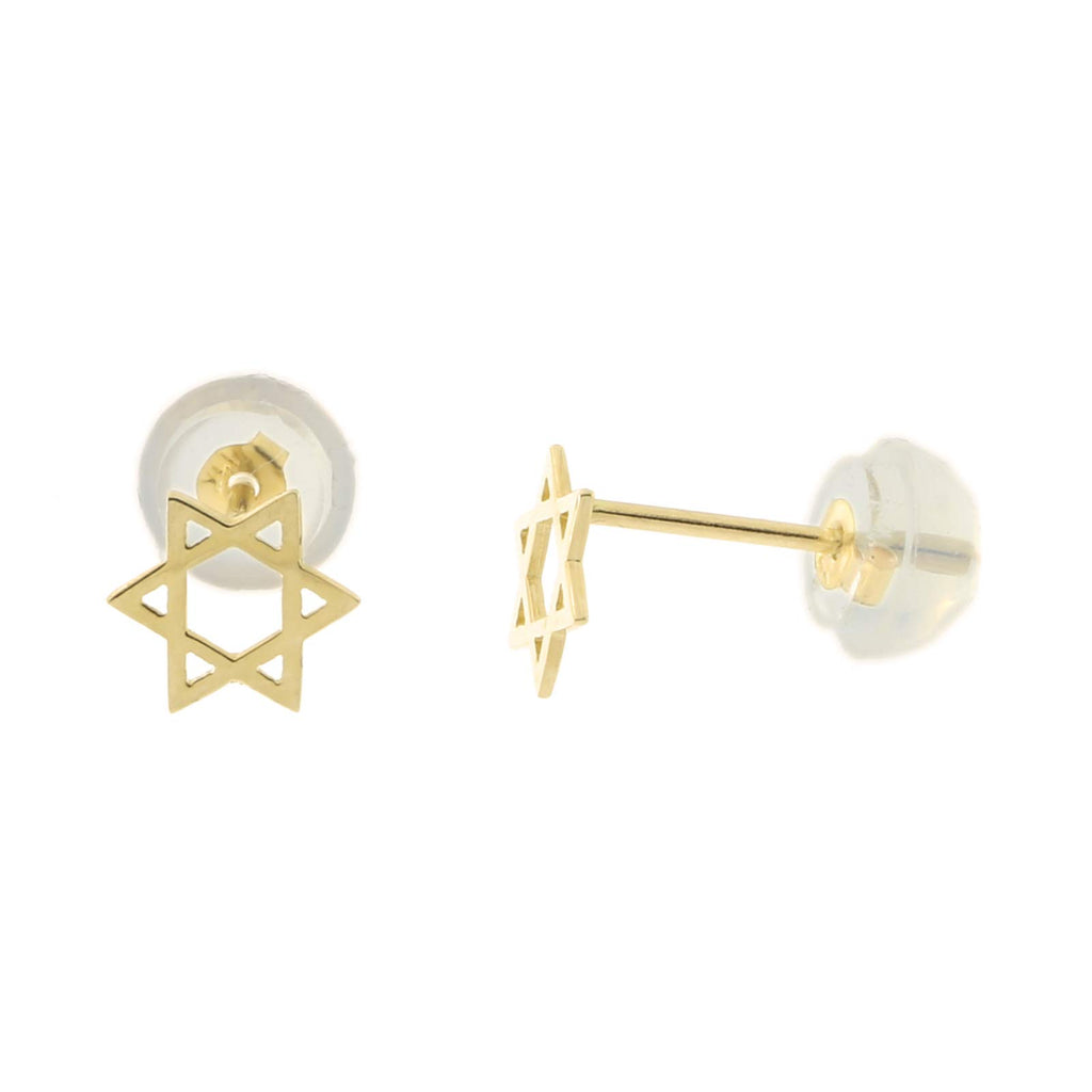 3c4ce8719 ... Girls' Solid 14k Yellow Gold Tiny Star of David Stud Earrings with  Silicone Safety Back ...