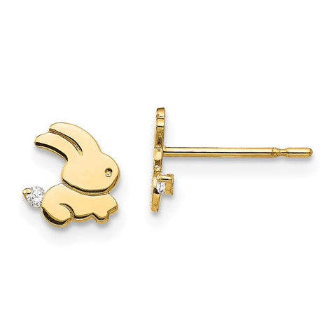 Girls' Solid 14k Yellow Gold Cubic Zirconia Tiny Bunny Stud Earrings with Silicone Safety Back, 7mm