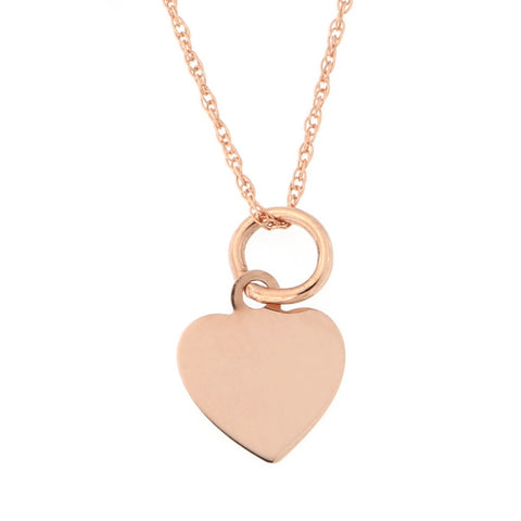 Beauniq 14k Rose Gold Tiny Engravable Heart Pendant Necklace (Pendant only)
