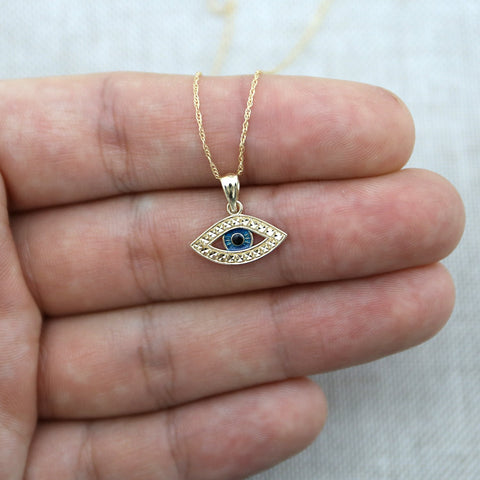 Beauniq 14k Yellow Gold Blue Enamel Diamond Cut Evil Eye Pendant Necklace - Pendant only