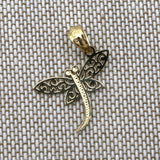 14k Yellow Gold Filigree Dragonfly Pendant