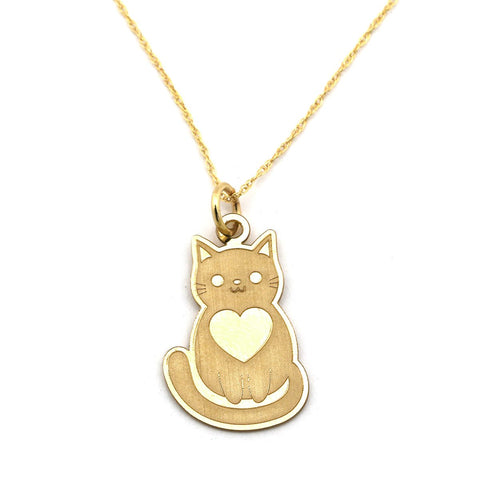 14k Yellow Gold Cat with Heart Laser Etched Pendant Necklace - pendant only