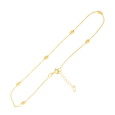"14k Yellow Gold Diamond Cut Barrel Bead Adjustable Station Anklet, 10""- 11"""