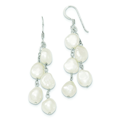 Sterling Silver 2 Strand Baroque Freshwater Cultured Pearl Dangle Earrings