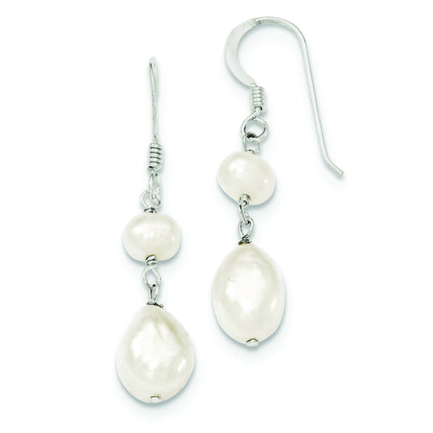 Sterling Silver 10mm White Freshwater Cultured Pearl Drop Dangle Earrings