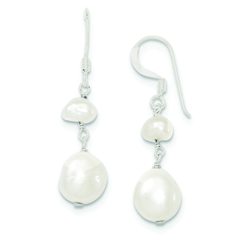 Sterling Silver Baroque Freshwater Cultured Pearl Drop Dangle Earrings