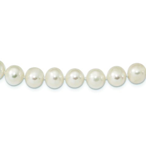 Sterling Silver Rhodium Plated 8mm-9mm White Freshwater Cultured Pearl Necklace Bracelet Set, 16""