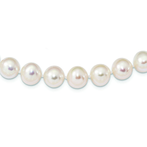 Sterling Silver Rhodium Plated 9mm-10mm White Freshwater Cultured Pearl Necklace, 20""