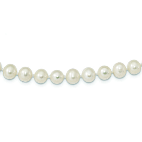 Sterling Silver Rhodium Plated 7mm-8mm White Freshwater Cultured Pearl Necklace Bracelet Set, 18""