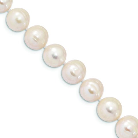 Sterling Silver Rhodium Plated 10mm-11mm White Freshwater Cultured Pearl Bracelet, 7.25""