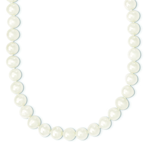 9mm-10mm White Round Freshwater Cultured Pearl Endless Necklace, 80""
