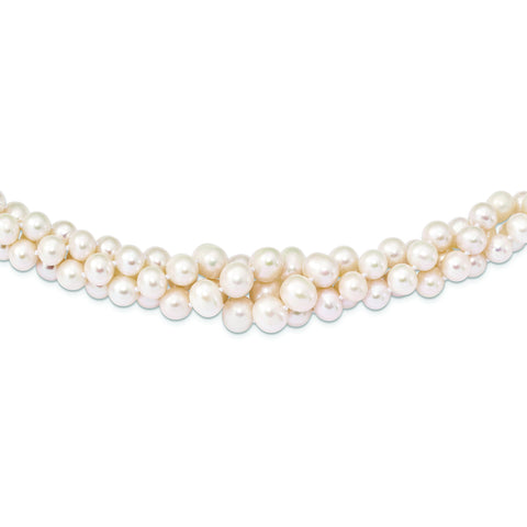 Sterling Silver Rhodium Plated 6-11mm Graduated Freshwater Cultured Pearl 3 Strand Necklace, 18""