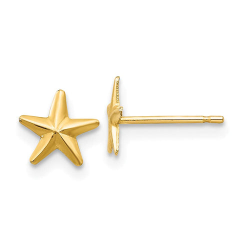 Girls' Solid 14k Yellow Gold Small Star Stud Earrings with Silicone Safety Back, 7mm