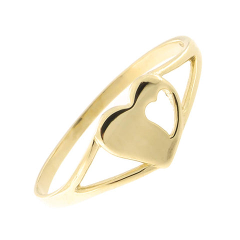 Solid 14k Yellow Gold Heart Mid Finger Midi Ring, Size 2
