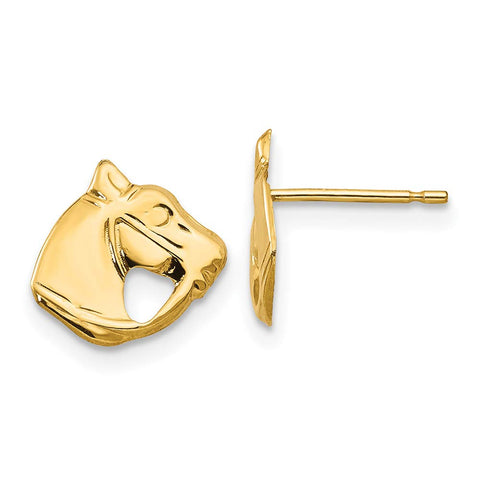 Girls' Solid 14k Yellow Gold Horse Head Stud Earrings with Silicone Safety Back, 8mm