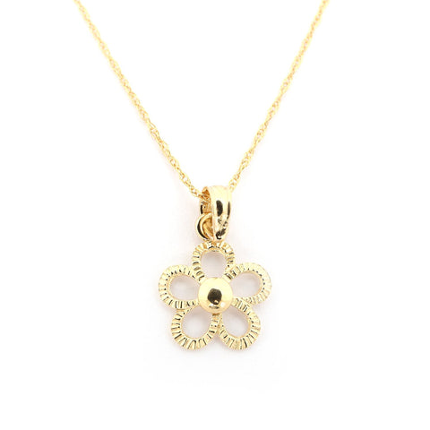 Beauniq 14k Yellow Gold Open Textured Flower Pendant Necklace - Pendant only