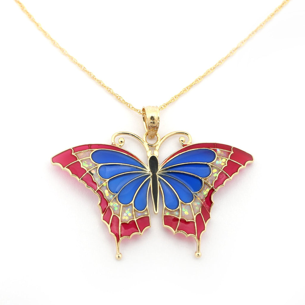 14k Yellow Gold Blue, Pink and Glitter Acrylic Large Butterfly Pendant Necklace - Pendant only