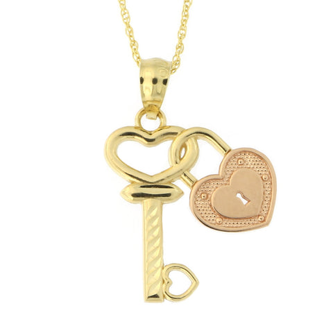 Beauniq 14k Yellow and Rose Gold Heart Love Key Pendant Necklace (Pendant only)