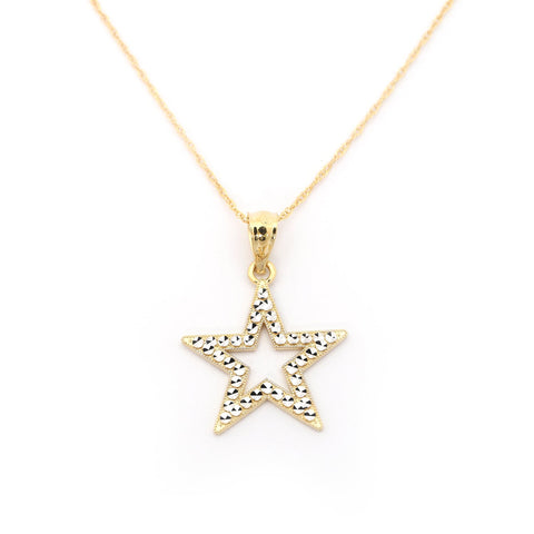 14k Yellow and White Gold Diamond Cut Star Pendant Necklace - pendant only
