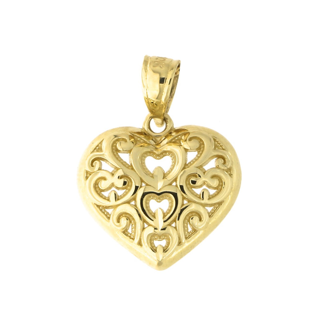 10k Yellow Gold Filigree Heart Pendant Necklace