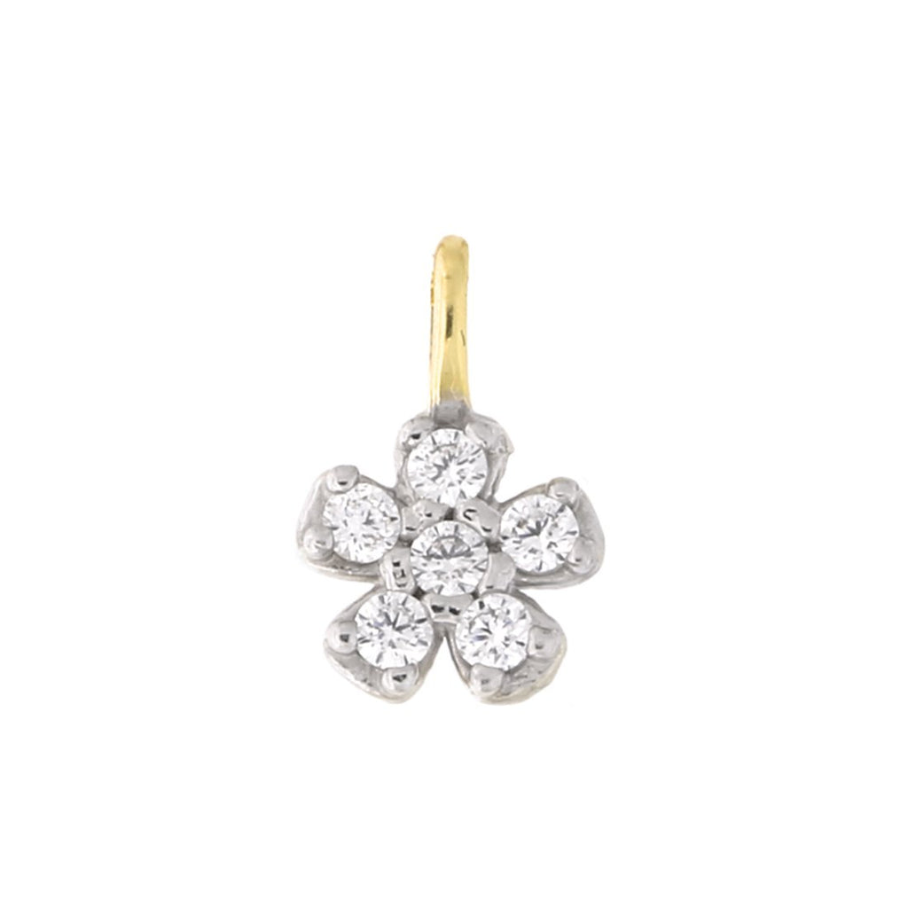 10k Yellow Gold Cubic Zirconia Flower Pendant Necklace