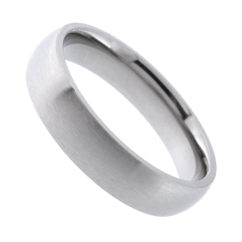 Beauniq Unisex Classic Titanium 5mm Brushed Band Comfort Fit Ring, Size 10