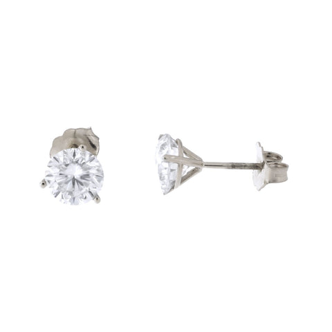 14k White Gold Martini Three-Prong Moissanite Stud Earrings, 2 ct