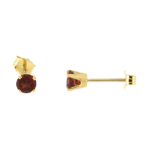 14k Yellow Gold Genuine Gemstone Birthstone Stud Earrings, 3mm
