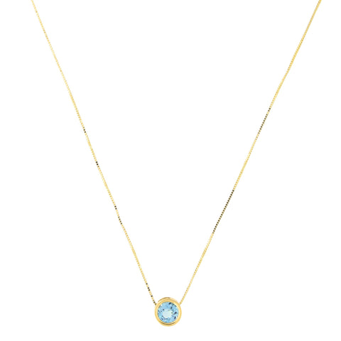 14k Yellow Gold 7mm Genuine Blue Topaz December Birthstone Bezel Set Slide Pendant Necklace, 15""
