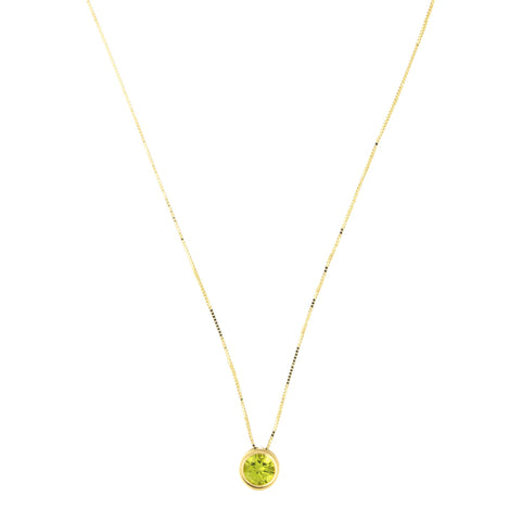 14k Yellow Gold 7mm Genuine Peridot August Birthstone Bezel Set Slide Pendant Necklace, 16""